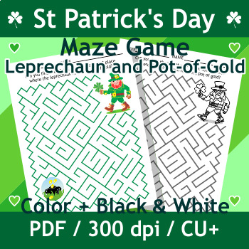 St. Patrick's Day Maze with Leprechaun and Pot of Gold, Co