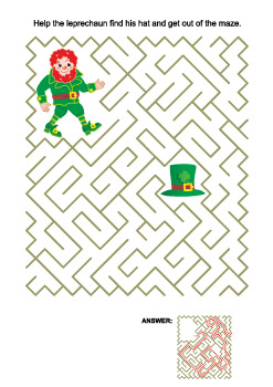 St. Patrick's Day Maze with Leprechaun and his Hat, Commercial Use Allowed