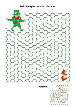St. Patrick's Day Maze with Leprechaun and his Shoes, Commercial Use Allowed