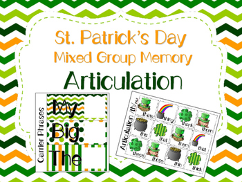 St. Patrick's Day Memory for Mixed Groups Articulation - 20% off for 48 Hours!