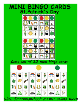 St. Patrick's Day Mini Bingo Card class set