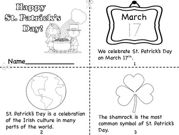 St. Patrick's Day Mini Book and Coloring Pages