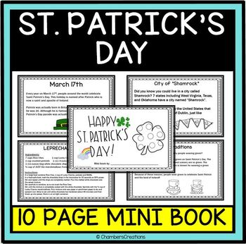 St. Patrick's Day Mini Flip Book- 10 Pages- March Center