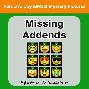 St. Patrick's Day: Missing Addends - Color-By-Number Mystery Pictures
