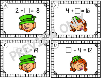 St. Patrick's Day Missing Addends Within 20  Grades 1 and 2