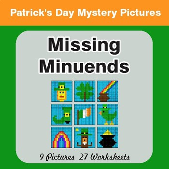 St. Patrick's Day: Missing Minuends - Color-By-Number Math Mystery Pictures
