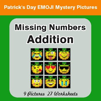 St. Patrick's Day: Missing Numbers Addition - Color By Number Math Mystery Pictures