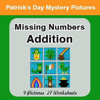 St. Patrick's Day: Missing Numbers Addition - Color-By-Number Math Mystery Pictures