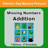 St. Patrick's Day: Missing Numbers Addition - Color-By-Num