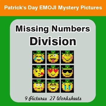 St. Patrick's Day: Missing Numbers Division - Color-By-Number Math Mystery Pictures