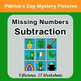 St. Patrick's Day Missing Numbers Subtraction - Color-By-N
