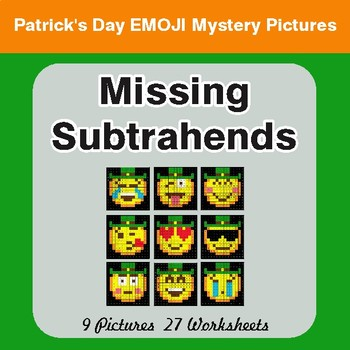 St. Patrick's Day: Missing Subtrahends - Color-By-Number Math Mystery Pictures