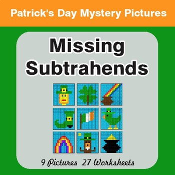 St. Patrick's Day: Missing Subtrahends - Color By Number Math Mystery Pictures