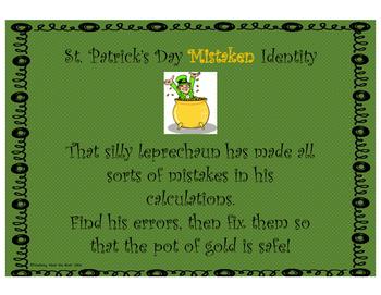 St. Patrick's Day Mistaken Identity Math