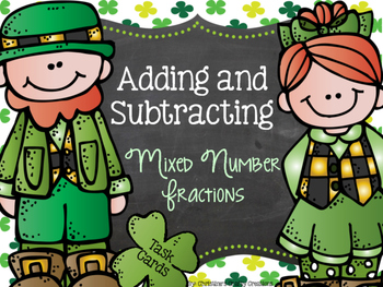 St. Patrick's Day Mixed Fractions Task Cards