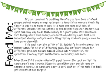 St. Patrick's Day Mixed Group Memory - Following Directions Freebie!