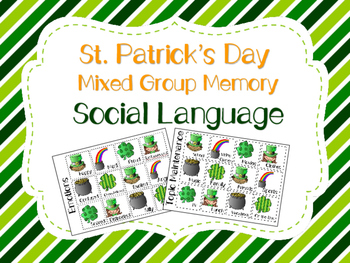 St.Patrick's Day Mixed Group Memory - Social Language 20% off for 48 hours!