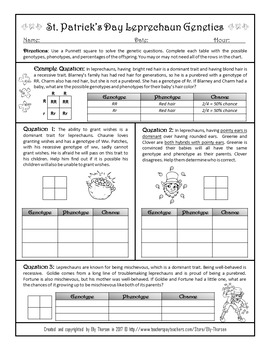 Patrick's Day Monohybrid Crosses Punnett Square Worksheet FREEBIE