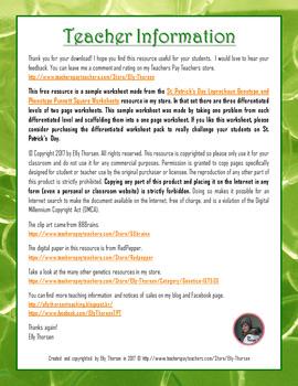 St. Patrick's Day Monohybrid Crosses Punnett Square Worksheet FREEBIE