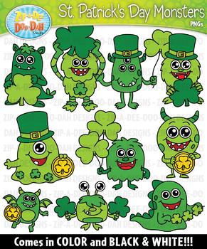 St. Patrick's Day Monsters Clipart {Zip-A-Dee-Doo-Dah Designs}