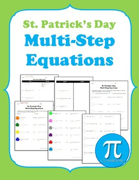St. Patrick's Day Multi-Step Equations Cooperative Learning