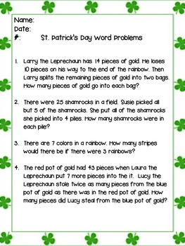 St. Patrick's Day Multiple step word problems