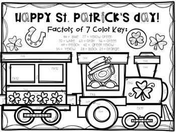 St. Patrick's Day Multiplication Color-By-Number BUNDLE