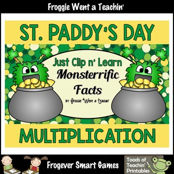 """St.Patrick's Day--Multiplication """"Just Clip n' Learn Monst"""