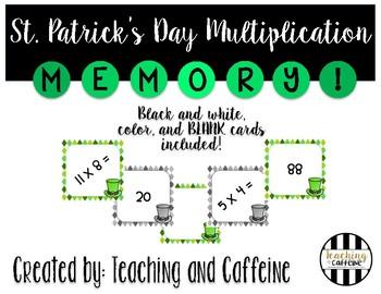 St. Patrick's Day Multiplication Memory