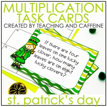 ST. PATRICK'S DAY Multiplication Task Cards