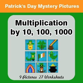 St Patrick's Day: Multiplication by 10, 100, 1000 - Color-By-Number