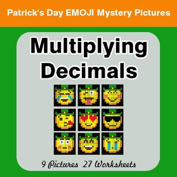 St Patrick's Day: Multiplying Decimals - Color-By-Number Mystery Pictures