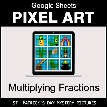 St. Patrick's Day - Multiplying Fractions - Google Sheets Pixel Art