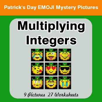 St Patrick's Day: Multiplying Integers - Color-By-Number Math Mystery Pictures