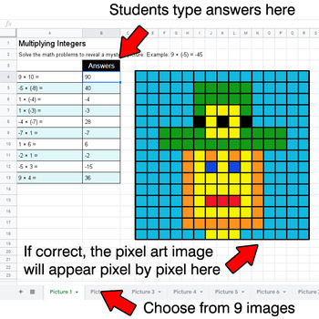 St. Patrick's Day - Multiplying Integers - Google Sheets Pixel Art
