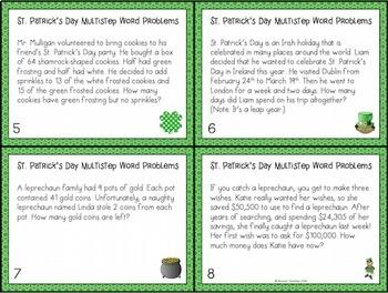 St. Patrick's Day Multistep Word Problem Task Cards (Grade 4)