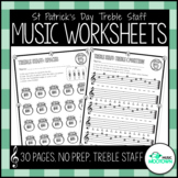 St. Patrick's Day Music Worksheets - Treble Staff