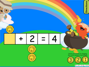 St. Patrick's Day Math:  Addition and Subtraction Equations for SMARTboard
