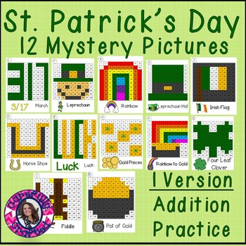 St. Patrick's Day Mystery Pictures- Hundreds Chart Addition Practice