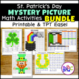St. Patrick's Day Mystery Pictures Math Activities BUNDLE with TPT Easel