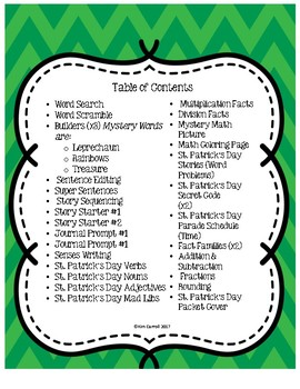 St. Patrick's Day NO PREP Activities and Printables