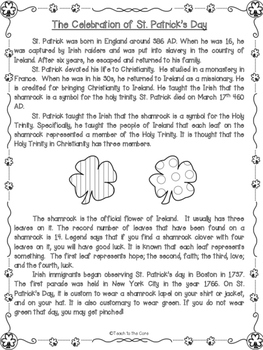 St. Patrick's Day NO PREP Close Reading Task Cards/Graphic Organizers