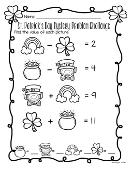 St. Patrick's Day Math - No Prep Packet K-2nd Grade Edition