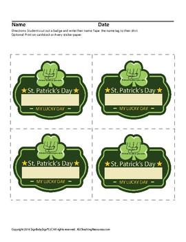 St. Patrick's Day Name Tag
