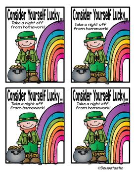 St. Patrick's Day No Homework Pass (FREEBIE)