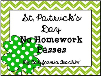 St. Patrick's Day No Homework Passes {I'm so lucky to have you in my class!}
