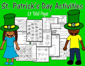 St. Patrick's Day Printables-Sightwords, Counting, Writing, Coloring