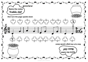 St. Patrick`s Day: Note Names Worksheets. Turn the page upside down.
