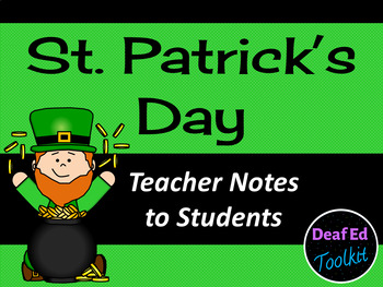 St. Patrick's Day Notes: Teacher to Student