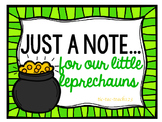 St. Patrick's Day Notes for our Little Leprechauns